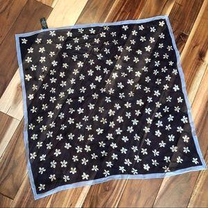 Echo for L.L.Bean Navy Blue Floral Silk Scarf EUC